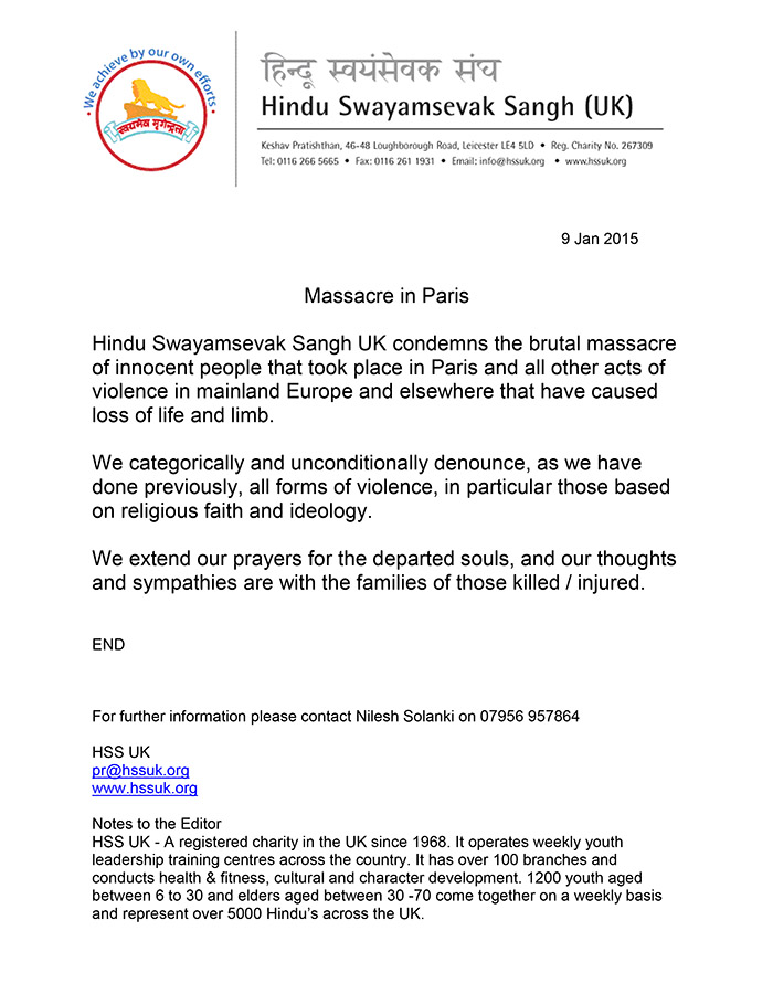 Microsoft Word - HSS UK Press Release - Paris Massacre .doc