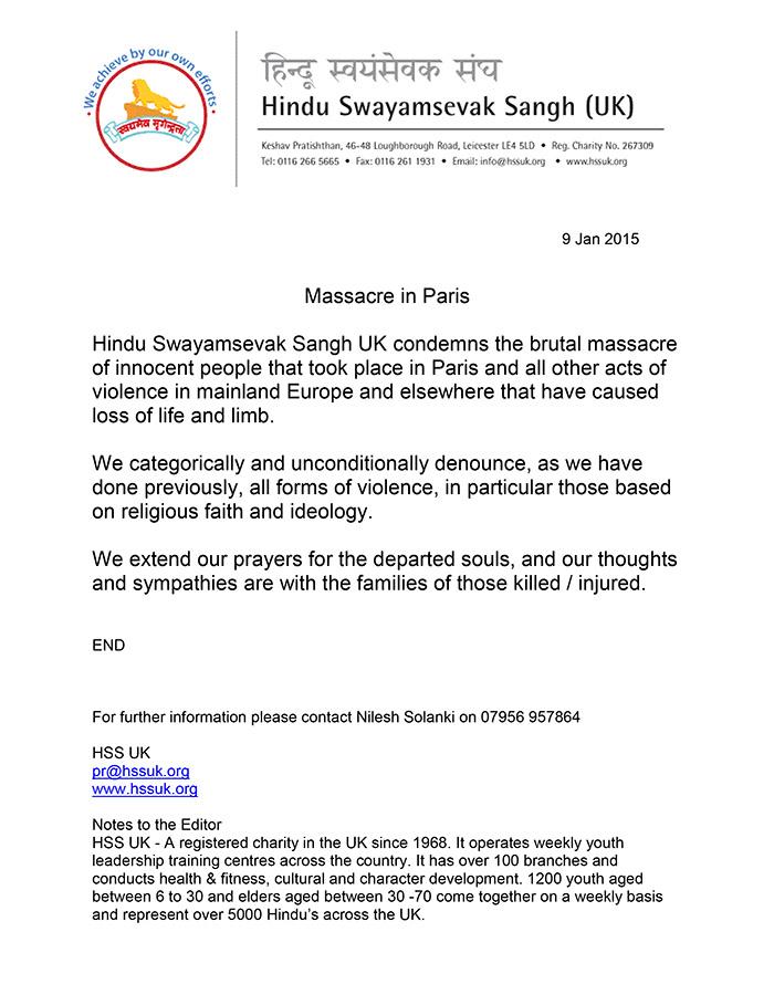 Microsoft Word - HSS UK Press Release - Paris Massacre .doc
